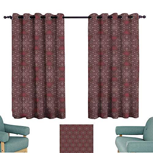HCCJLCKS Room Darkened Heat Insulation Curtain Maroon Detailed Ornate Flowers Curves Swirls Petals Dusky Victorian Garden Theme Noise Reducing W72 xL45 Maroon Burgundy White