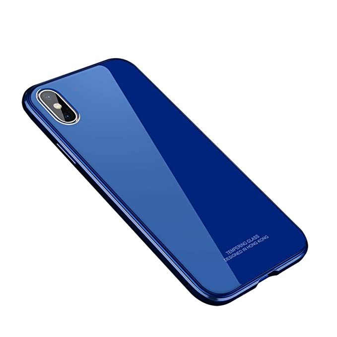 official photos 82766 73d83 iPhone X Case, MOBYFL Slim Fit Tempered Glass Case with Shockproof Metal  Bumper, Anti-Scratch Hard Cover Case for Apple iPhone X/iPhone 10 (Blue02)