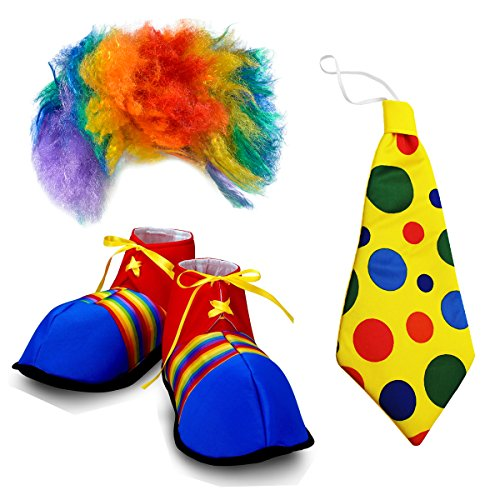 Adult Size Clown Costume - 3 Pc, Clown Wig and Costume Accessories - by Funny Party Hats (Clown Wig, Tie, Shoes)