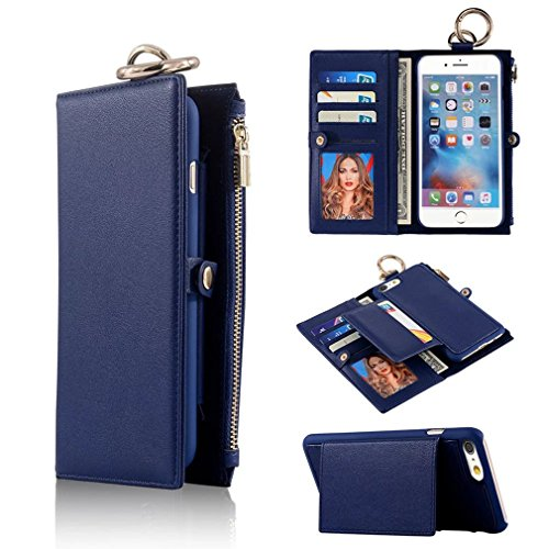 Price comparison product image iPhone 6 Plus / 6S Plus Detachable Case, TYoung Premium Leather Wallet Magnetic Case Outdoor Sports Flip Cover Folio Buckle Case Zipper Coin Purse with Card Slot and Cash Compartments Pocket - Blue