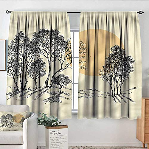 Anzhutwelve Nature,Backout Curtain Set Sketchy Trees Hills and Sun 104