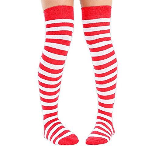 6 Eesa para pares Disfraz Cosplay mujer completa en Adam a Raya y blanco rojo rodilla calcetines la gd7Oq