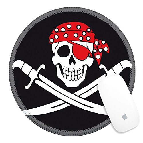 Luxlady Round Gaming Mousepad 39096808 Jolly Roger pirate -