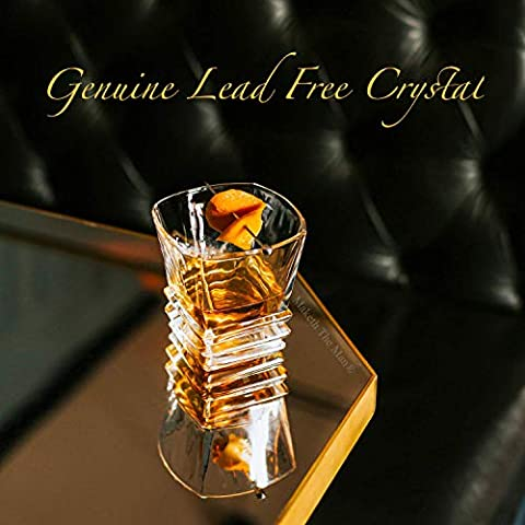 Premium Art Deco Whiskey Glass Set. 10oz Bourbon Glasses In Stylish Gift Box. Genuine Lead Free Crystal Scotch Glasses…