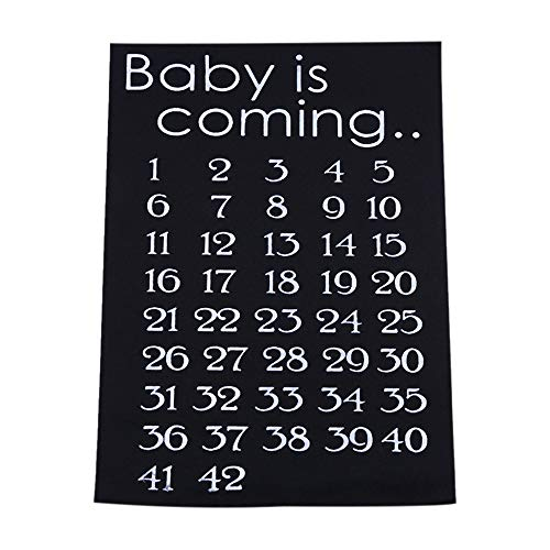 Orcbee  _Baby is Coming DIY Sticker Countdown Birth Weeks Left Gift for Pregnant Women (Black)