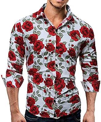 MDLJY Camisas Camisa Casual de Manga Larga para Hombre Camisa Floral con Estampado 3D de Flores de Color Rosa Camisa Ajustada con Cuello Vuelto Ropa para Hombre: Amazon.es: Deportes y aire libre
