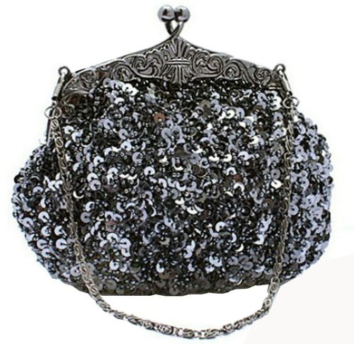Chicastic Fully Sequined Mesh Beaded Antique Style Formal Cocktail Clutch - Grey
