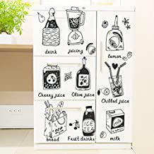 Creative juice 9 food kitchen refrigerator cartoon wall stickers bedroom living room background decoration removable stickers PVC applique