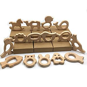 Amyster DIY Baby Teether Toys Set 15pcs Organic Natural Beech Wooden Toy Handmade Baby Wooden Animals Teether Make Baby…