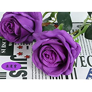Sandweek Premium Artificial,Real Touch Pu Silk Rose Fake Flowers Home Decorations for Bridal Wedding Bouquet,Birthday Bunch Hotel Party Garden Floral Decor-Purple 4