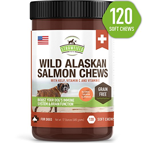 Salmon Oil for Dogs - Grain Free Dog Treats, 120 Chews - Omega 3 Fish Oil Pet Supplement for Joint Support, Shedding, Healthy Coat, Itching Skin Allergy Relief, Arthritis Pain, (3 Chewable Treats)