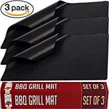 Grill Mat BBQ Accessories by Twisted Chef, Set of 3 Miracle Mats, Use as Gas or Electric Oven Liners or Baking Sheets, Suitable For Charcoal Barbecues, 100% Non-Stick for Healthier Cooking, Easy to Clean, Dishwasher Safe, Enhance Your Grilling Now!