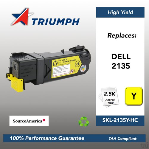 - Non-OEM New Build Dell 2135 YELLOW Toner Cartridge, 2500 Page Yield (330-1438)