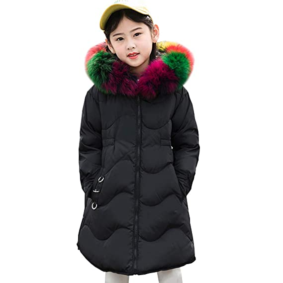 e9c6e060c149 LSERVER Kid Girl Long Colorful Fur Hooded Down Jacket Thick Warm ...