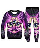 Mimi pope Unisex Casual Long Sleeve 3D Glasses Cat Print 2PCS Sweatshirt Sweatpants Jacket