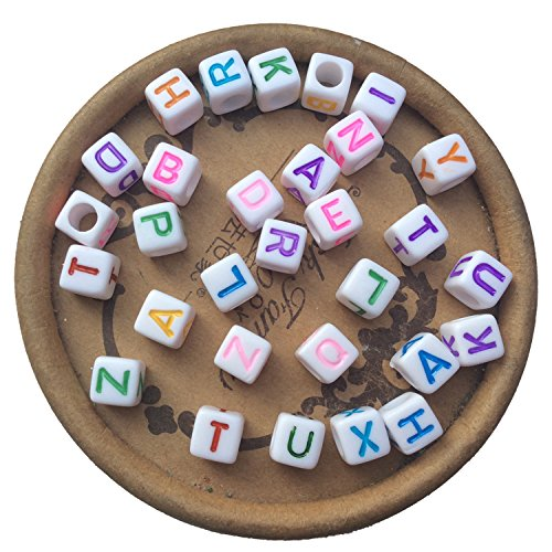 Alphabet Bead Block (Letters 100pcs 6x6mm Acrylic Colorful Spacer Square Cube 26 Letters Mixed Alphabet Beads for Jewelry)