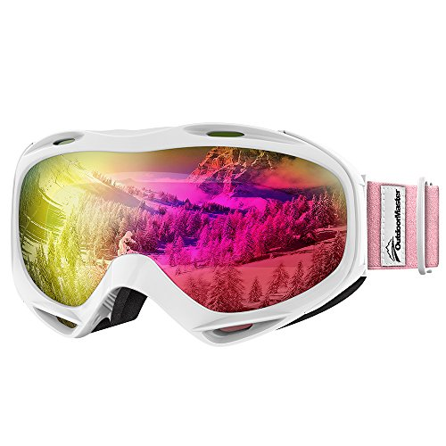 OutdoorMaster OTG Ski Goggles - Over Glasses Ski / Snowboard Goggles for Men, Women & Youth - 100% UV Protection (White Frame + VLT 13% Pink Lens with Full REVO - Googles Goggles