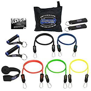 Bodylastics Resistance Bands Sets with Free Online Workouts. Patented Anti-Snap 12pcs, 14pcs, 19pcs and 31pcs Kits with Upgraded Handles, Door Anchor, Legs Ankle Straps, Manual & Bonus 44 Workouts., BLI-BLSET05, One Bag