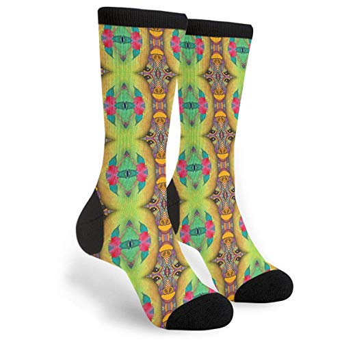 Giraffe Lime Green Aqua Totem Stripes Dress Funny Crazy Casual Cotton Crew Socks Novelty Socks Gifts for Mens Womens ()