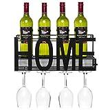 Best Choice Products Wall Mount Decorative Wine Cocktail Storage Shelf w/Caged Cork Storage - Black