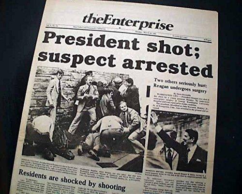 JOHN HINCKLEY JR. Shoots President RONALD REAGAN Assassination 1981 Newspaper THE ENTERPRISE, Simi Valley and Moorpark, California, March 30, - Valley Simi California