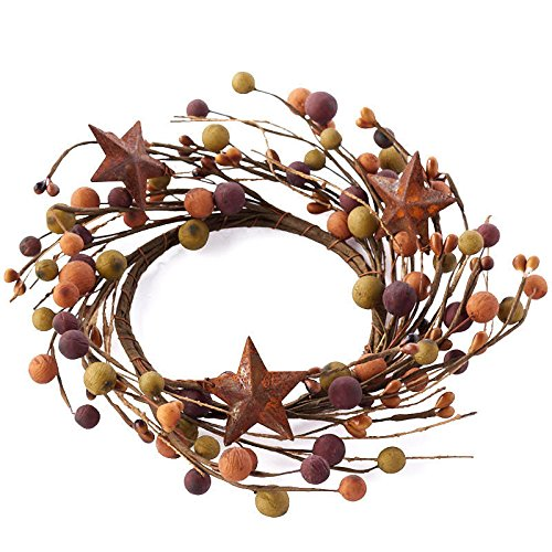 Primitive Mixed Color Berry Candle Rings with Rusty Star Accents- Set of 2