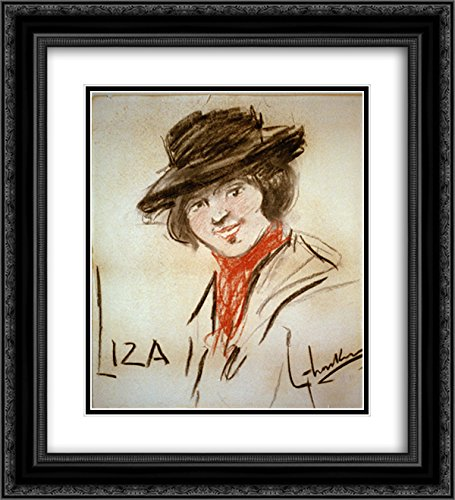 George LUKS 2X Matted 20x22 Black Ornate Framed Art Print 'Drawing of Eliza Doolittle, a Character from George Bernard Shaw's Play Pygmalion'