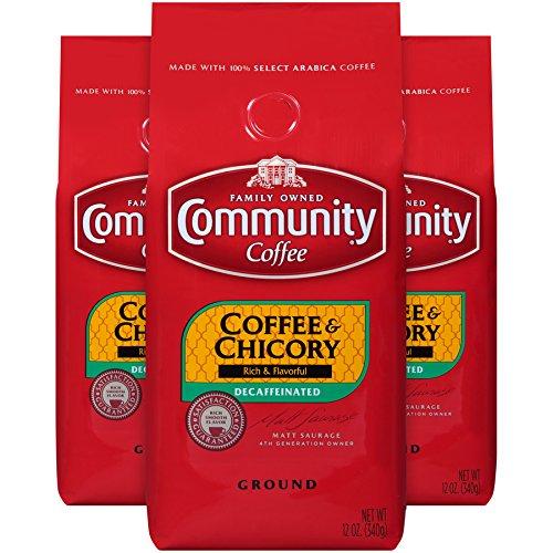 Community Coffee Premium Ground Coffee and Chicory Decaf, Medium-Dark Roast, 12 oz., (Pack of 3)