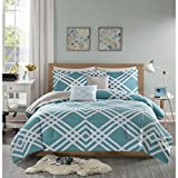 Intelligent Design Hailey Comforter Set Full/Queen Bedding Sets - Teal, Blue, Geometric – 5 Piece Teen Bed Set – Ultra Soft Microfiber Bed Comforter