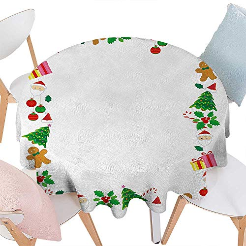 (cobeDecor Kids Christmas Dinner Picnic Round Table Cloth Colorful Border with Different Clip Arts Holiday Festivity Santa Trees Balls Waterproof Round Table Cover for Kitchen D60 Multicolor)
