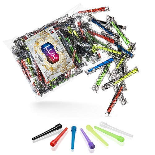 LUX Hookah Mouth Tips - Premium, Thick, Individual Wrapped, Disposable, Male Connection, Neon Colored, Hygienic Plastic, Best Value Pack