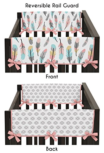 (Sweet Jojo Designs 2-Piece Feather Collection Teething Protector Cover Wrap Baby Crib Side Rail Guards)