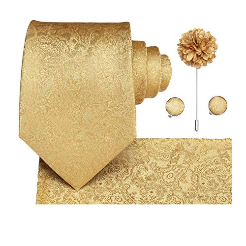 Dubulle Gold Tie and Lapel Pin Flower for Men with Gold Necktie Hanky Cufflinks