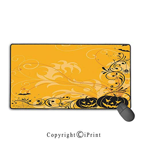 Stitched Edge Mouse pad,Halloween Decorations,Carved Pumpkins with Floral Patterns Bats and Webs Horror Artwork,Orange Black,Premium Textured Fabric, Non-Slip Rubber -