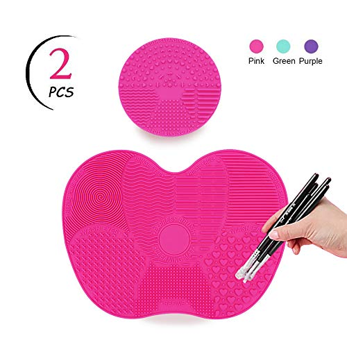 TailaiMei Makeup Brush Cleaning Mat,Set of 2 Silicone Cosmetic Washing Tool with Suction Cups(Pink)