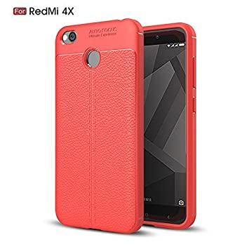 Funda Cuero para móvil Xiaomi 4X Carcasa Case Full Body Protection Case for Xiaomi Redmi 4X (Rojo)