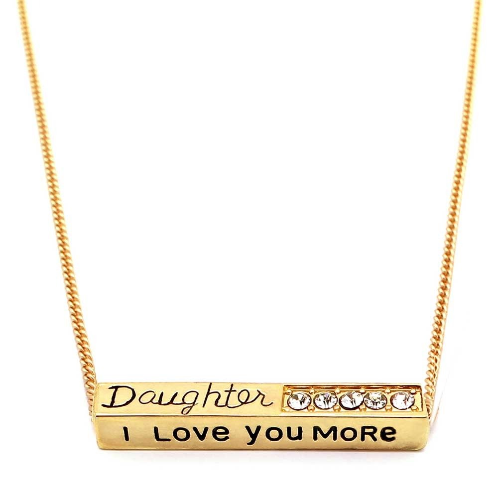 I Love You More 'Daughter' Pendant Necklace Adjustable Matte Gold Bar Necklace With Sparkling Crystals Perfect Gift For Daughter Ceswx 9014444MG