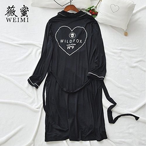 Coreano Ropa Nueva Home Furnishing Simple Ocio Moda Pijama Dama Modal Manga,Carta Negro,F Black Heart