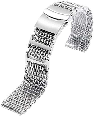 YISUYA SHARK MESH 22MM Full Stainless Steel Watch Band Heavy Duty Diving Dive Watch Strap