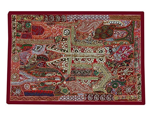 Triveni Art & Crafts Vintage Wall Hanging, Heavy Beaded Hand Embroidered Bohemian Patchwork Ethnic Wall Decor Embroidery Tapestry 40 x 60 ()