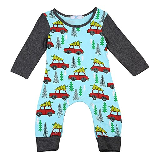 Newborn Baby Boys Girls Long Sleeve Romper Christmas Trees and Cars Print Splice Contrast Color Jumpsuit Pants (12-18M, Green)