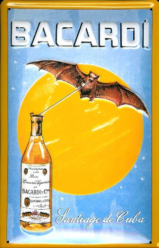 Bacardi Bat Against Moon embossed metal sign (hi 2030)