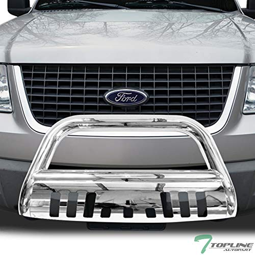 F150 Skid Plate - Topline Autopart Polished Stainless Steel Bull Bar Brush Push Front Bumper Grill Grille Guard With Skid Plate For 04-18 Ford F150 / 03-17 Expedition ; 03-14 Lincoln Navigator / 06-08 Mark LT