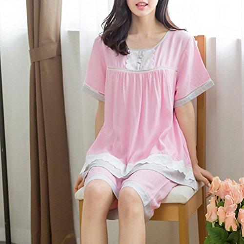 Zhhlinyuan Fashion Ladies Nightwear Cotton Sleepwear Set Pink