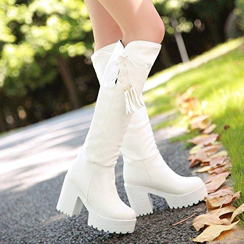 Lange Stiefel Weiß an ziehen RAZAMAZA Damenmode nwFHqx