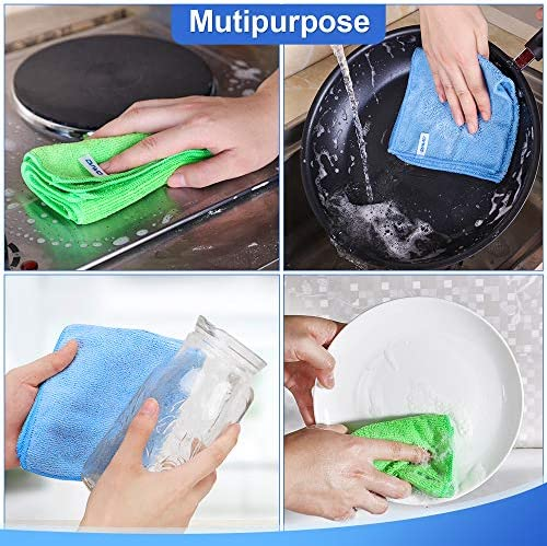 12Pcs Premium Microfiber Cleaning Cloth via ovwo - Highly Absorbent, Lint Free, Scratch Free, Reusable Cleaning Supplies - for Kitchen Towels, Dish Cloths, Dust Rag, Cleaning Rags in Household Cleaning