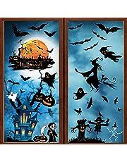 heekpek Halloween raamstickers 7 vellen Halloween venster klampt herbruikbare vleermuis pompoen spook schedel venster stickers sticker voor Halloween venster decoratie