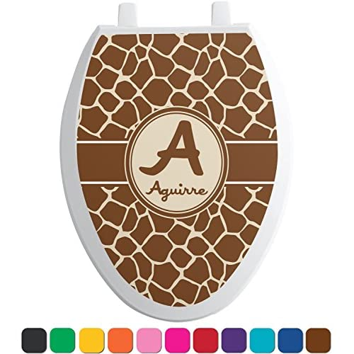 cheap Giraffe Print Toilet Seat Decal - Round (Personalized)