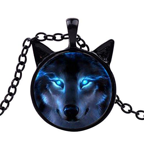 Wintefei Unisex Jewelry Retro Wolf Head Pendant Cabochon Long Chain Sweater Necklace - Black