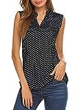 Halife Womens Sleeveless Shirts Summer Tops Casual Tanks V Neck Office Wear Black2 XL